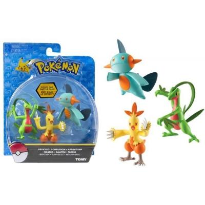 Pokemon actie figuren 3-pack Grovyle, Combusken & Marshtomp 6cm (hoenn)