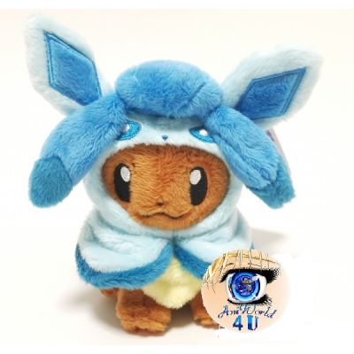 Officiële Pokemon center knuffel eevee poncho Glaceon mascot +/- 13CM